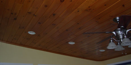 A knotty Pine Ceiling adds contrast