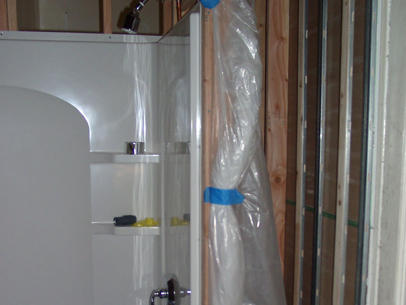 Adding a new bathroom to the home - framed-in wall, shower