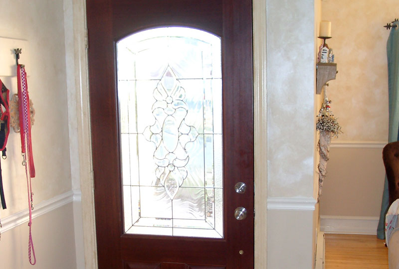 New front door, seen from the inside with a beautiful frosted glass look.